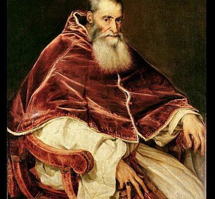 ALG201882 Portrait of Alessandro Farnese (1468-1549) Pope Paul III, 1543 (oil on canvas)  by Titian (Tiziano Vecellio) (c.1488-1576); 137x88 cm; Museo e Gallerie Nazionale di Capodimonte, Naples, Italy; Alinari; Italian, out of copyright